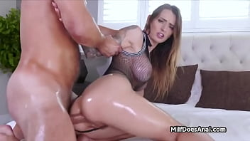 Lubed big tit milf enjoys perfect anal in lingerie