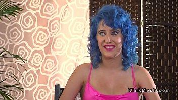 Blue haired slave begging for public d.