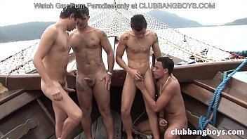 Bang boys have a horny foursome on this exotic boat