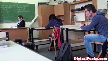 Teacher fucks class slutload Brunette schoolgirl fucks cock in class