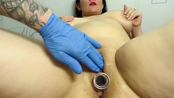 The Lover Caresses The Plump Milf. Vaginal Fisting With Medical Glove And Clit And Dildo Masturbation In Shaved Pussy. Homemade Fetish Of A Mature Couple.