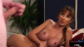 Busty british voyeur watches submissive subject jerk
