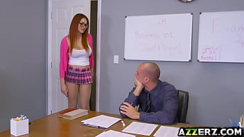 Busty redhead Skyla Novea seduced her hot prof