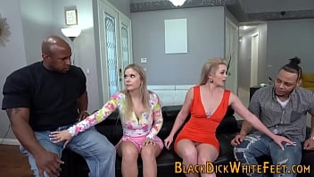 Blondes Feet Cummed Over In Foursome