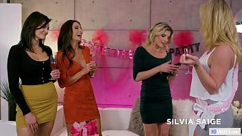 Lesbian Foursome At Bachelorette Party ( Lesbian MILFs ) 6 min