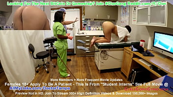 $CLOV - Nurse Lenna Lux Examines Standardize Patient Stefania Mafra While Doctor Tampa Watches During 1st Day of Student Clinical Rounds At GirlsGoneGyno.com