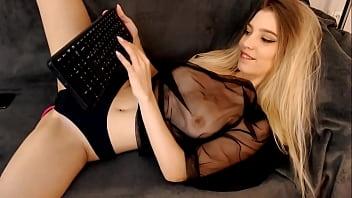 Beautiful Classy Blonde Camgirl Teasing On Webcam