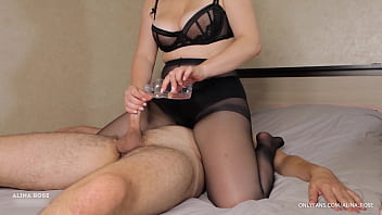Teen With Big Tits Femdom Handjob And Ruined Orgasm In Pantyhose