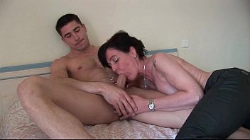 Sexy french mom doing a guy before dildo playing