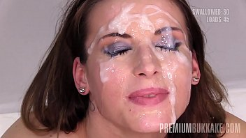 Premium Bukkake - Victoria Daniels swallows 55 huge mouthful cum loads