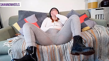 BOOT BITCH SQUIRTS ALL OVER FRIENDS SOFA   GETS CAUGHT! - Shannon Heels