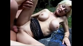 Mature blonde loves sucking young cock and getting fucked