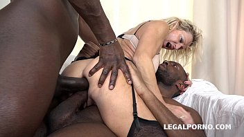 Granny whore Marina Beaulieu fucked like a bitch by 2 Black cocks