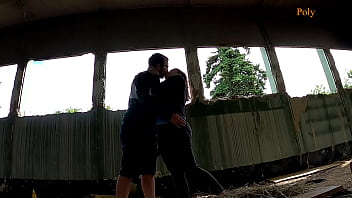 Blogger girl fucked a guy in a abandoned place (pegging, cum on tits)