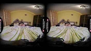 Solo girl, Julia Nikitina is drilling her slit, in VR 5 min