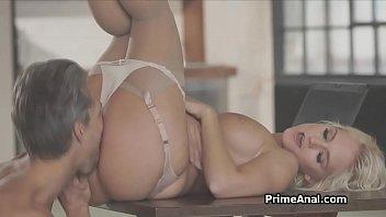 Deep anal sex with big tit blonde girlfriend