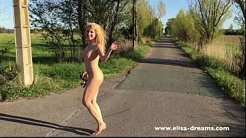 Madal naked Flashing naked on the road