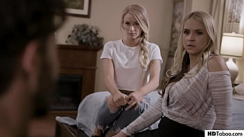 Stepmom and Daughter tricked into FFM - Sarah Vandella, Emma Hix