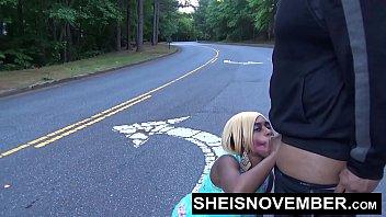 Msnovember Sucking Cock In Road Sloppy Blowjob Ebony Teen