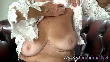 Blonde granny rides hard cock thumbnail