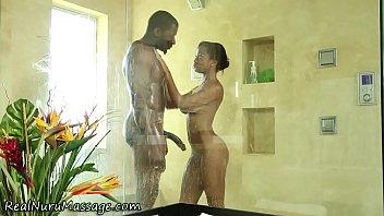 Interracial massage bath porn - Ebony masseuse cum soaked