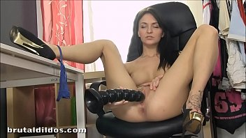 Petite Belle Claire pussy stretching with b. dildo