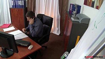 Clumsy secretary Kandall N enjoys deep ass fucking on the office desk