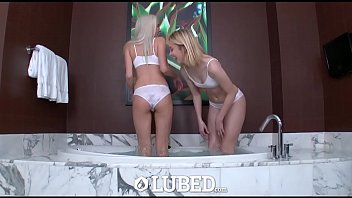 LUBED Two blondes share cock in wet and wild bathroom threesome