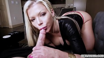 Barbie Sins wraps her fingers around her stepsons thick prick and runs her lips up and down the tip of his cock