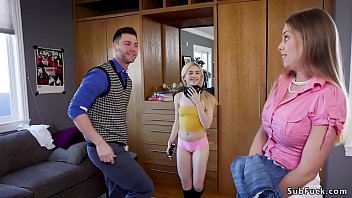 Sexy blondes handcuffed - Guy fucks mom and bratty blonde girlfriend
