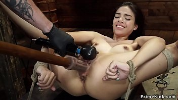 Gagged petite slave is tormented