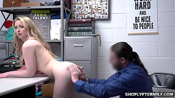 BLonde milf shoplifter Sunny Lane getting stripped and punished