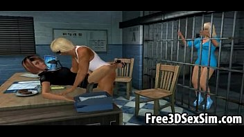 Two sexy 3D cartoon babes fucked in a jail cell