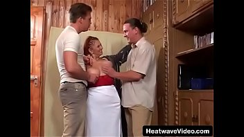 Old fat woman with massive melons gets double penetrated by her grandson'_s friends