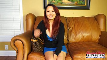 Asian who suck at math - Asian amateur girl gets dirty on casting couch