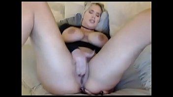Blonde makes fat pussy cum