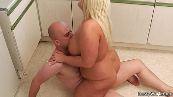 Lovely blonde plumper rides boss cock