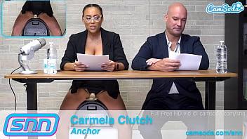 Camsoda News Network anchors rides sybian and gives amazing blowjob 10 min