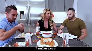 Hot Mom Phoenix Marie Fucks Stepdad & Stepson on Thanksgiving Day