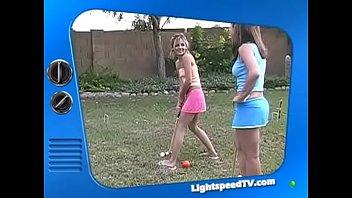Jordan Capri and Tawnee Stone play croquet