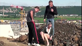 Cute little blonde girl public construction site public sex threesome gang bang 16 min