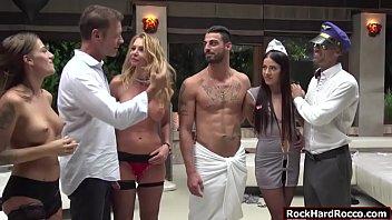 Four busty sluts enjoy the orgy sex 6 min