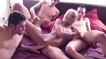 German Mom Seduce to Fuck by Step-Son and Two Friends