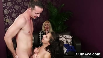 Randy bombshell gets cum shot on her face swallowing all the jizm