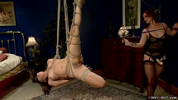 Asian dyke in air bondage anal fucked