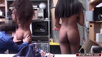Ebony shoplifters fuck security officer