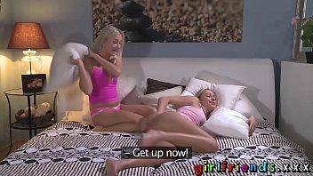 Girlfriends Cute blondes pillow fight sex