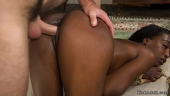 Ebony slut is rough banged in bondage