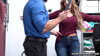 Richelle Ryan with HUMONGUS tits caught shoplyfting! The LP performs a strip search on Ryan in his office and finds that Ryan is hiding bracelets thumbnail
