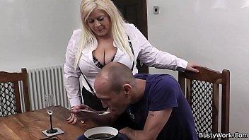 Boss fucks hot blonde secretary in stockings